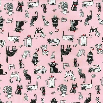 Poplin - Cats Pink
