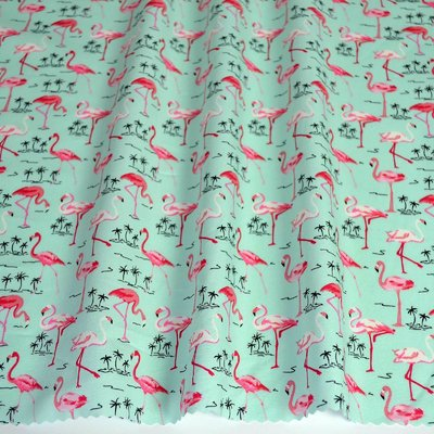 Poplin Flamingo Paradise Green