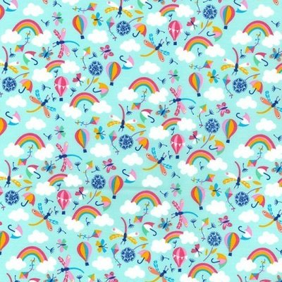 Poplin - Happy Rainbows Mint