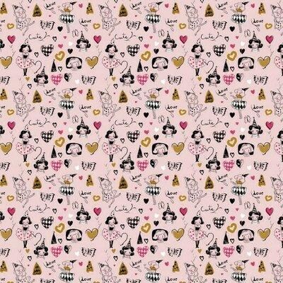 Poplin imprimat - Arlequeen Rose