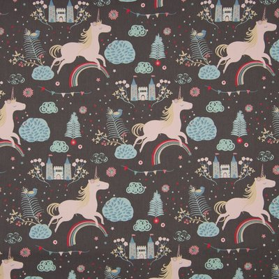 Poplin Imprimat - Castle and Unicorns Grey