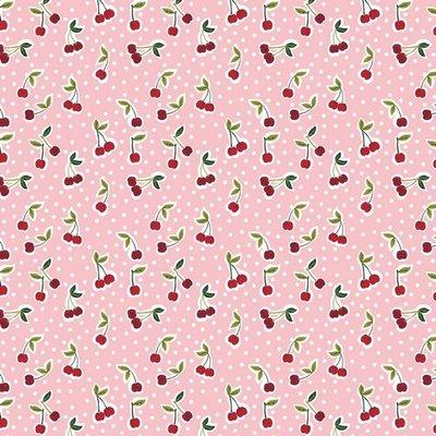 Poplin imprimat - Cherry Rose
