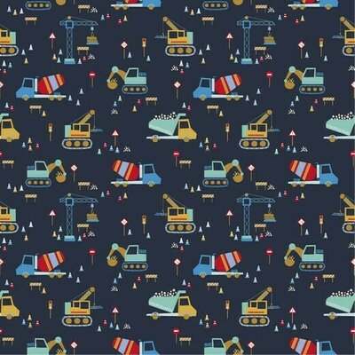 Poplin imprimat - Construction Vehicles Navy