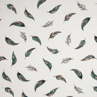 Poplin Imprimat - Feathers Ivory/Green
