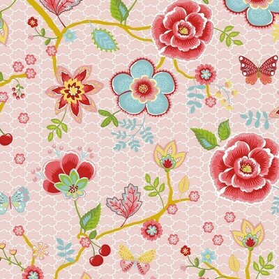 Poplin imprimat - Flower Garden Rose