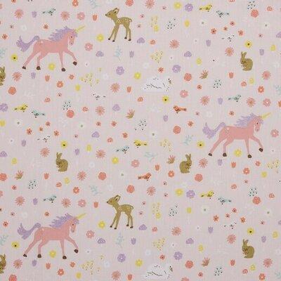 Poplin imprimat - Glitter Unicorns Pink