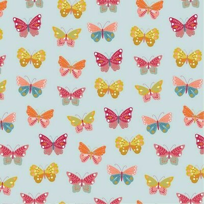 Poplin imprimat - Happy Butterfly Blue