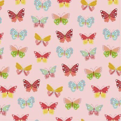 Poplin imprimat -  Happy Butterfly Rose