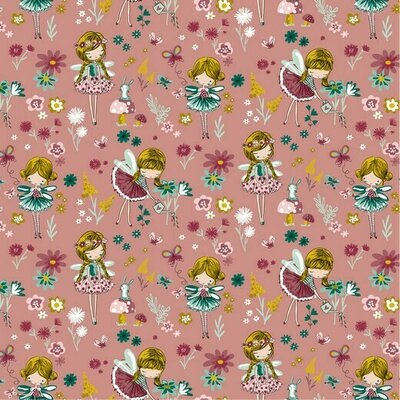 Poplin imprimat - Magical Garden Blush