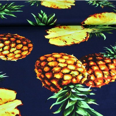 Poplin imprimat - Pineapple Navy