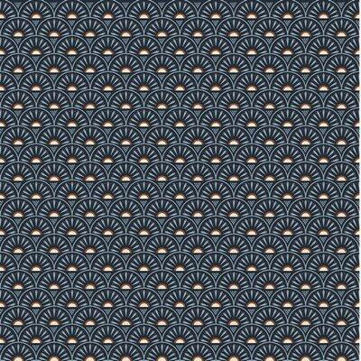 Poplin imprimat - Retro Graphics Navy