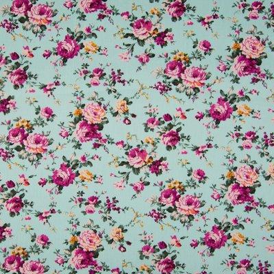 Poplin imprimat - Roses Aqua