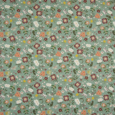 Poplin imprimat - Small Flowers Mint