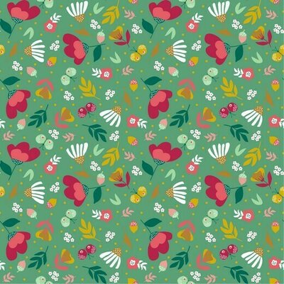 Poplin imprimat - Spring Garden Green