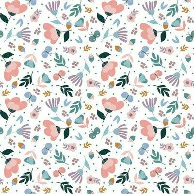 Poplin imprimat - Spring Garden White