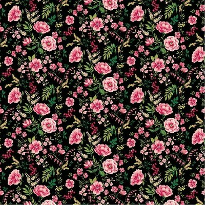 Poplin imprimat - Sweet Flower Black