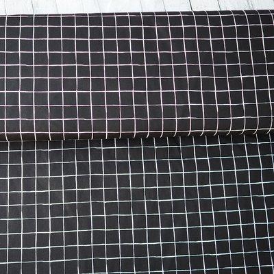 Poplin imprimat - Grid Black