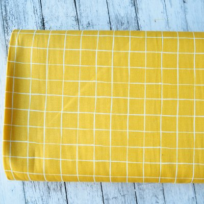 Poplin imprimat - Grid Yellow