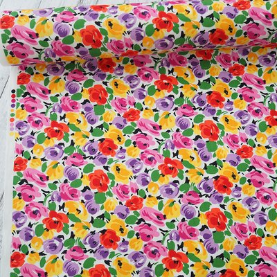 Poplin - Painted Florals Bright