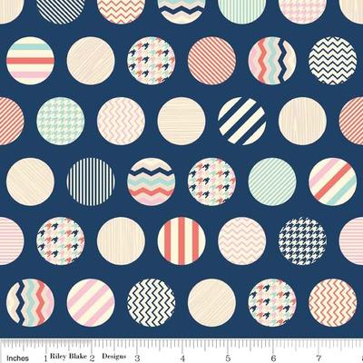 Material designer print - Trendsetter Dots Navy
