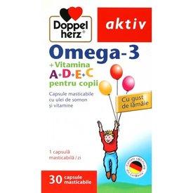 Doppelherz Aktiv Omega-3 + Vitamina A+D+E+C pentru copii, 30 capsule masticabile