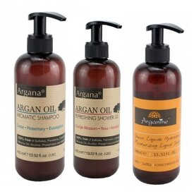 Sampon cu ulei de argan 400ml+Sapun lichid cu argan 400ml+Gel dus argan 400ml