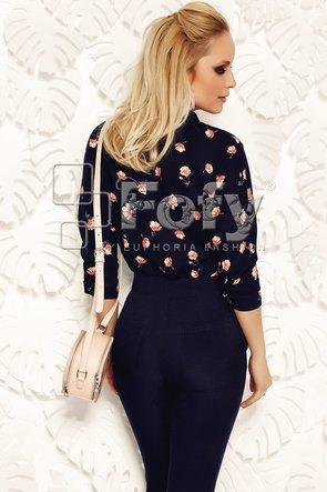 Bluză bleumarin cu mânecă amplă și imprimeu floral