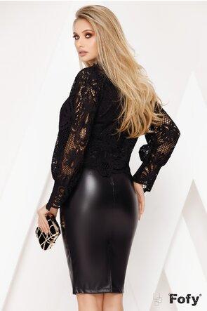 Bluza de lux neagra dantela perforata dublata  fata /spate