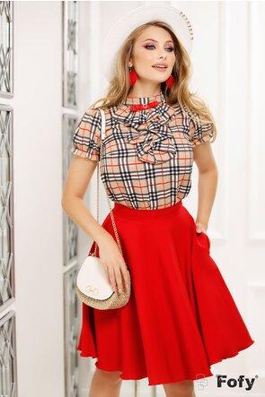 Bluză din voal cu imprimeu clasic jabou și broșă decorativă