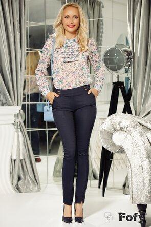 Bluza Fofy diafana imprimeu floral cu jabou suprapus