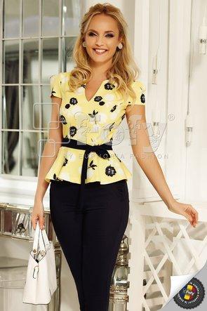Bluză Fofy galbenă cu print floral
