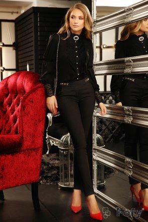 Bluza Fofy lejera croita din voal negru diafan, dantela din zona mansetelor si nasturi decorativi eleganti