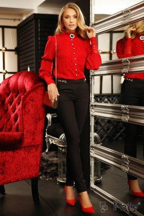Bluza Fofy lejera croita din voal rosu diafan, dantela din zona manseteleor si nasturi decorativi eleganti