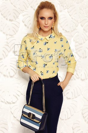 Bluză galbenă cu mânecă amplă și imprimeu floral
