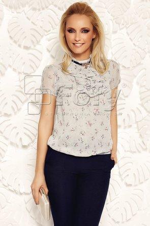 Bluză gri cu jabou și broșă decorativă