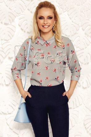 Bluză gri cu mânecă amplă și imprimeu floral