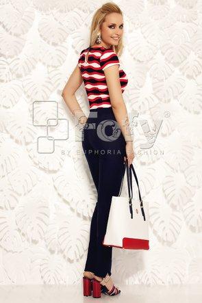 Bluză imprimată cu accent roșu și fundă asimetrică