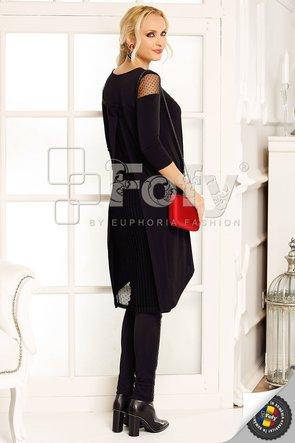 Bluză lungă neagră asimetrică