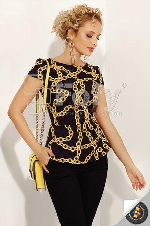 Bluză neagră cu imprimeu lanțuri