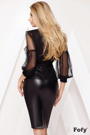 Bluza neagra din dantela pretioasa cu aplicatii de margele si strasuri