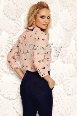 Bluză roz cu mânecă amplă și imprimeu floral
