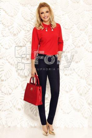 Bluză voal roșu cu ciucurași la guler