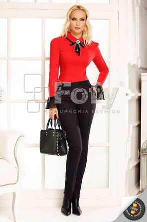 Cămașă body roșie cu volan din tulle plisat