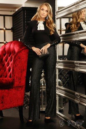 Camasa Fofy cambrata croita din material negru usor elastic