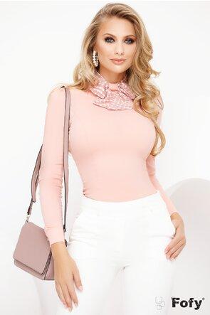 Camasa Fofy roz pudra cu maneca lunga si funda din voal