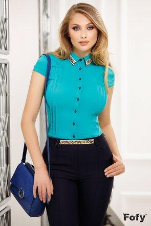 Camasa Fofy turquoise intens cu aplicatii decorative in zona gulerului