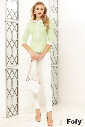 Camasa Fofy vernil cu guler alb si aplicatii perle si dantela