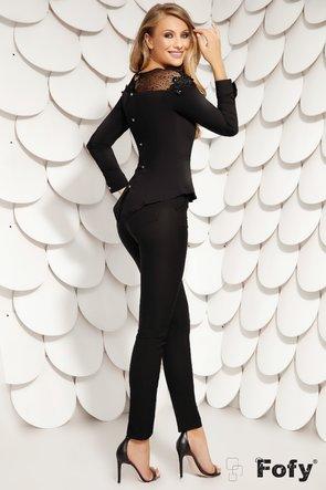 Camașă neagră cu mânecă lungă și detalii transparente pe umeri