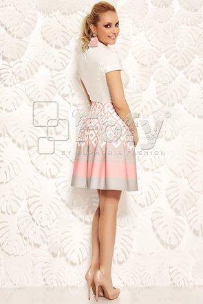 Fustă amplă roz cu imprimeu geometric