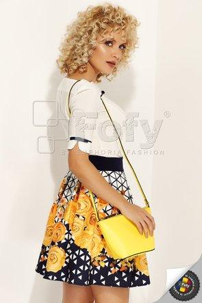 Fustă semi-cloș cu print geometric și floral galben
